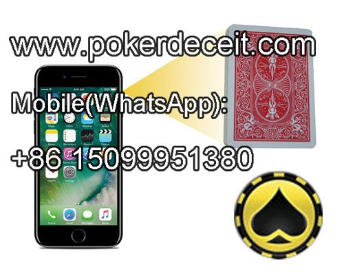 Cell phone poker camera lens for non-marked cards